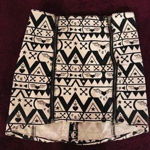 White and Black mini skirt